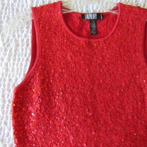 Anthropologie Red Sequin Sweater P XS Square Round